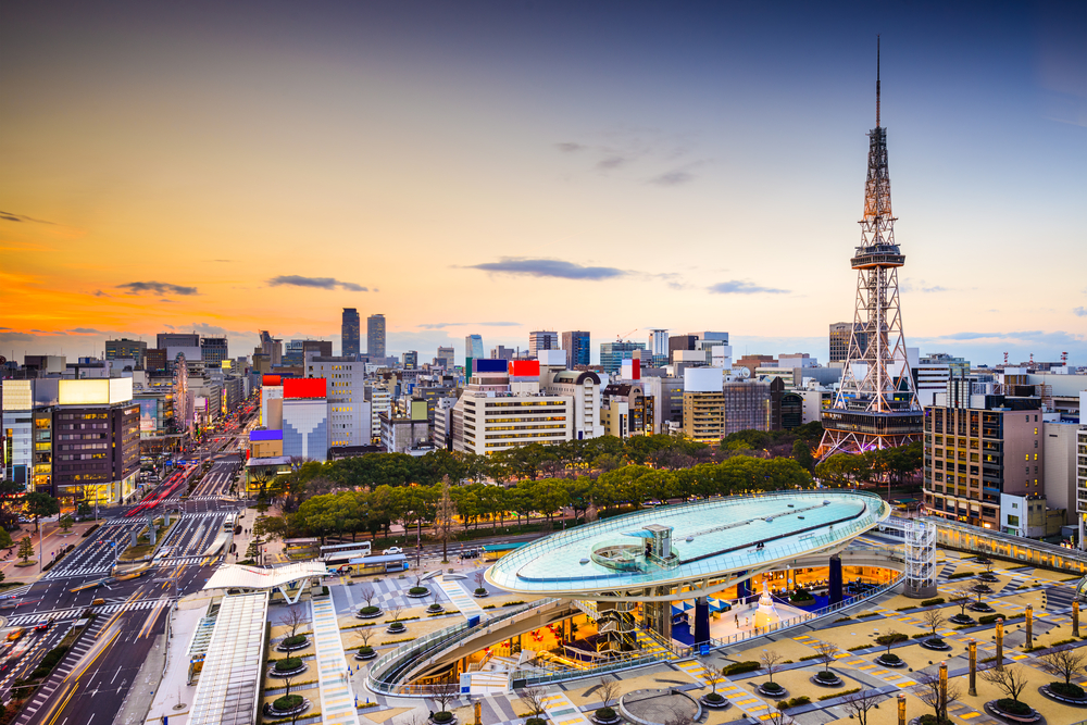 Nagoya, Japan city skyline at the tower.